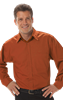 MENS L/S PEACHED FINE LINE TWILL  -  BURNT ORANGE EXTRA LARGE SOLID