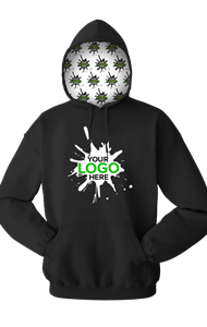 YOUR LOGO HERE FLEECE PULLOVER HOODIE BLACK EXTRA LARGE SOLID