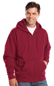 ADULT FLEECE ZIP FRONT HOODIE  -  BURGUNDY EXTRA SMALL SOLID