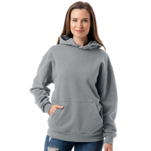 ADULT FLEECE PULL OVER HOODIE DARK HEATHER GREY EXTRA SMALL SOLID