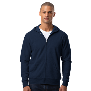 ADULT FLEECE ZIP FRONT HOODIE NAVY SMALL SOLID