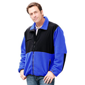 MEN'S 2 TONE POLAR FLEECE/NYLON JACKET CO#  -  BLUE 3 EXTRA LARGE TRIM BLACK