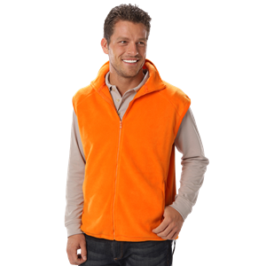 ADULT POLAR FLEECE SLEEVELESS VEST  -  ORANGE EXTRA SMALL SOLID