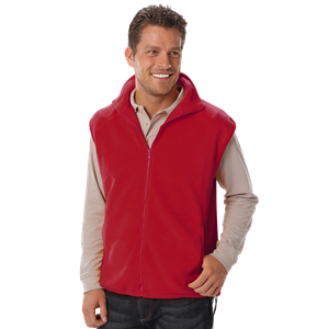 ADULT POLAR FLEECE SLEEVELESS VEST  -  RED SMALL SOLID