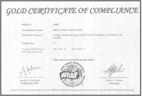 Gold Certificate of Compliance